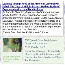 Pamela Chrabieh Rome 2017 Food Studies Conference